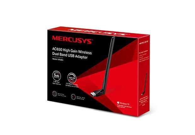 MERCUSYS Adaptor USB Dual Band High Speed Wireless AC650,  până la 200 Mbps în banda 2,4 GHz și 433 Mbps în banda de 5 GHz, Antena Haigh-Gain 5dBi, Standarde Wireless: IEEE 802.11b/g/n, IEEE 802.11a/n/ac, USB 2.0, Windows10/8.1/8/7/XP . - imaginea 1