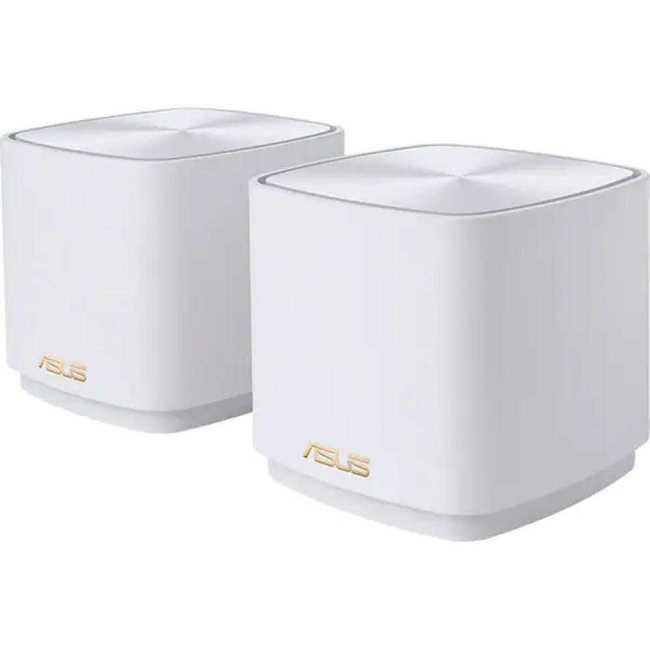 Asus dual-band large home Mesh ZENwifi system, XD4 2 pack; white , 256 MB Flash, 256 MB RAM ; Network Standard IEEE 802.11a, IEEE 802.11b, IEEE 802.11g, IEEE 802.11n, IEEE 802.11ac, IEEE 802.11ax, IPv4, IPv6, Internal dual-band antenna x 2, MIMO technology 2.4 GHz 2 x 2, 5 GHz 2 x 2, RJ45 for 1000 - imaginea 1