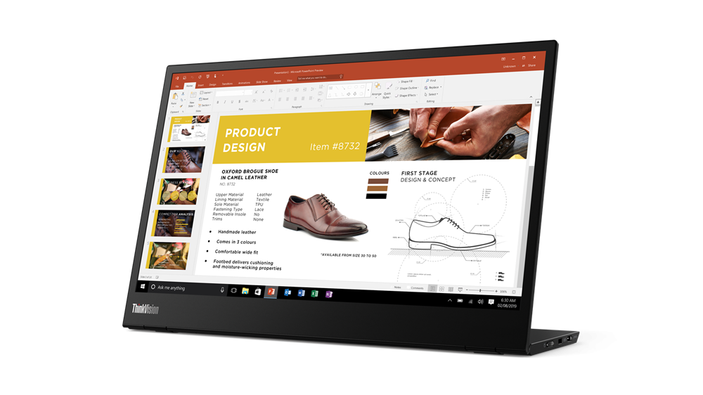 """Monitor Lenovo ThinkVision M1414"""" IPS, FHD (1920x1080), 16:9 ,Luminozitate: 300 nits, Contrast ratio: 700.:1, Response time: 6 ms, Dot/ Pixel Per Inch: 157 dpi, Color Gamut: 72% NTSC, View angle: 178 / 178,Stand: Tilt, Height Adjust Stand, Side Bezel Width: 5.48 mm, Dimensiune(cu stand) - imaginea 3"""