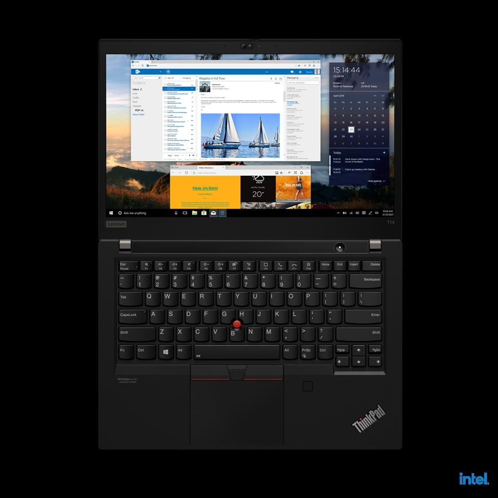 "Laptop Lenovo ThinkPad T14 Gen 2 (Intel), 14"" FHD (1920x1080) Low Power IPS 400nits Anti-glare, Intel Core i7-1165G7 (4C / 8T, 2.8 / 4.7GHz, 12MB), Video NVIDIA GeForce MX450 2GB GDDR6, RAM 16GB Soldered DDR4- 3200, SSD 1TB SSD M.2 2280 PCIe x4 NVMe Opal2, Optical: no ODD, MicroSD Reader, Speakers - imaginea 15"