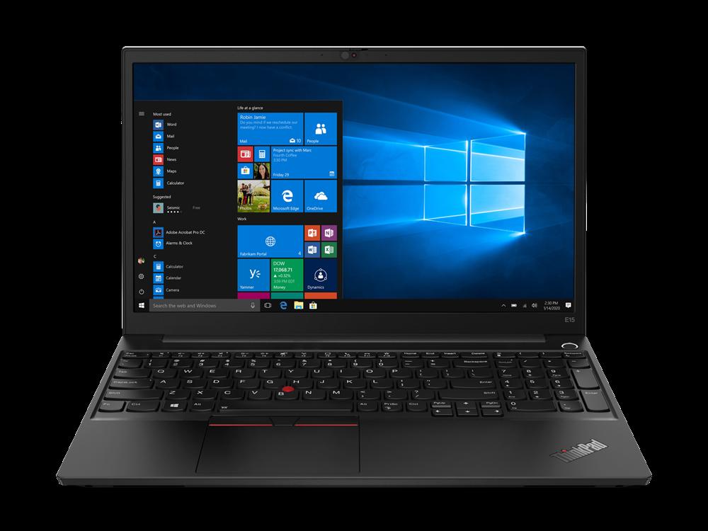 Laptop Lenovo ThinkPad E15 Gen 2 (AMD), 15.6 FHD (1920x1080) IPS 250nits Anti-glare, AMD Ryzen 5 4500U (6C / 6T, 2.3 / 4.0GHz, 3MB L2 / 8MB L3), Integrated AMD Radeon Graphics, 8GB Soldered DDR4-3200 + 8GB SO-DIMM DDR4-3200, 512GB SSD M.2 2242 PCIe 3.0x4 NVMe, Optical: no ODD, No Card reader - imaginea 1