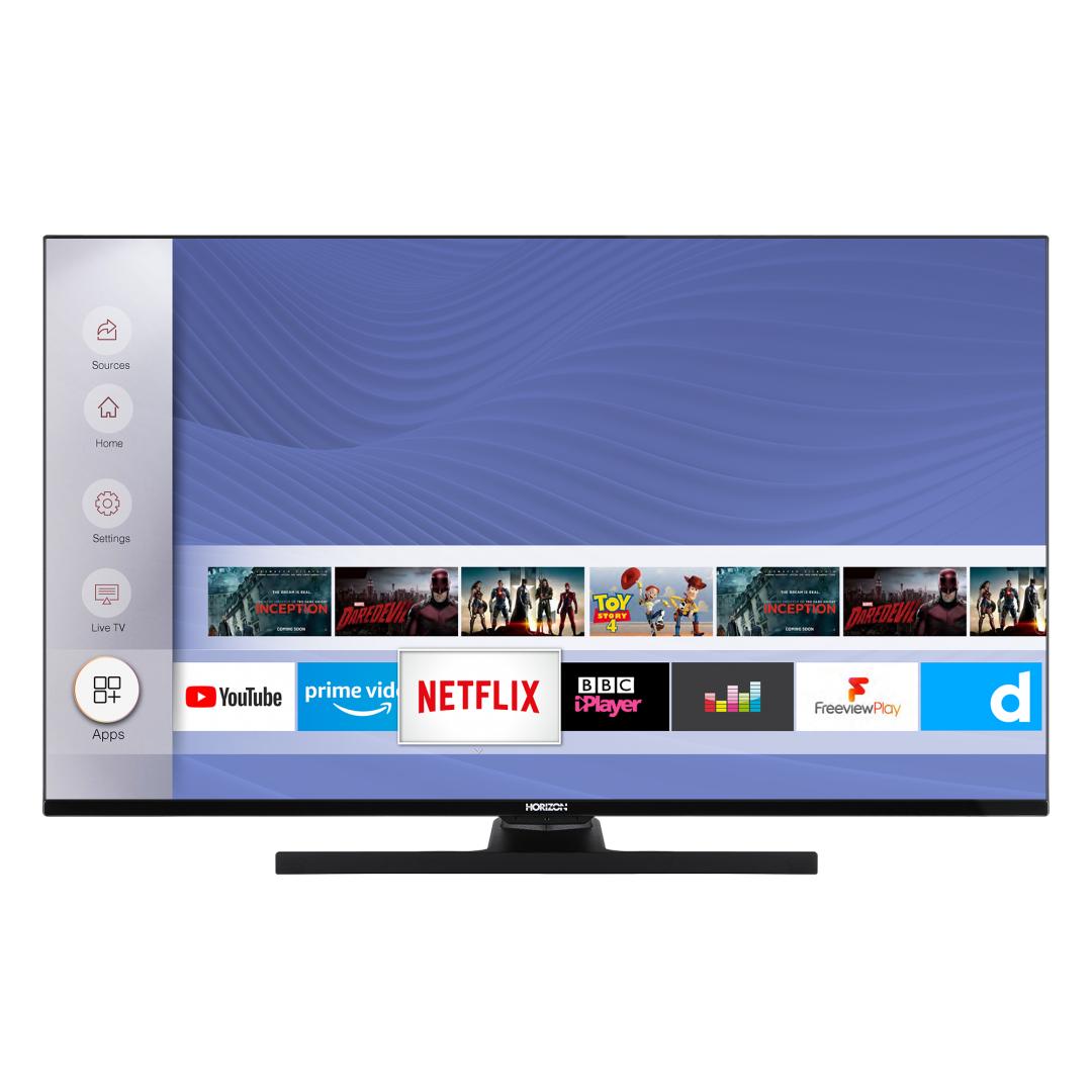 "LED TV HORIZON 4K-SMART 43HL8530U/B, 43"" D-LED, 4K Ultra HD (2160p), HDR10 / HLG + MicroDimming, Digital TV-Tuner DVB-S2/T2/C, CME 400Hz, HOS 3.0 SmartTV-UI (WiFi built-in) +Netflix +AmazonAlexa +Youtube, 1xLAN (RJ45), Wireless Display, DLNA 1.5, Contrast 5000:1, 350 cd/m2, 1xCI+, 3xHDMI, 1xUSB - imaginea 1"