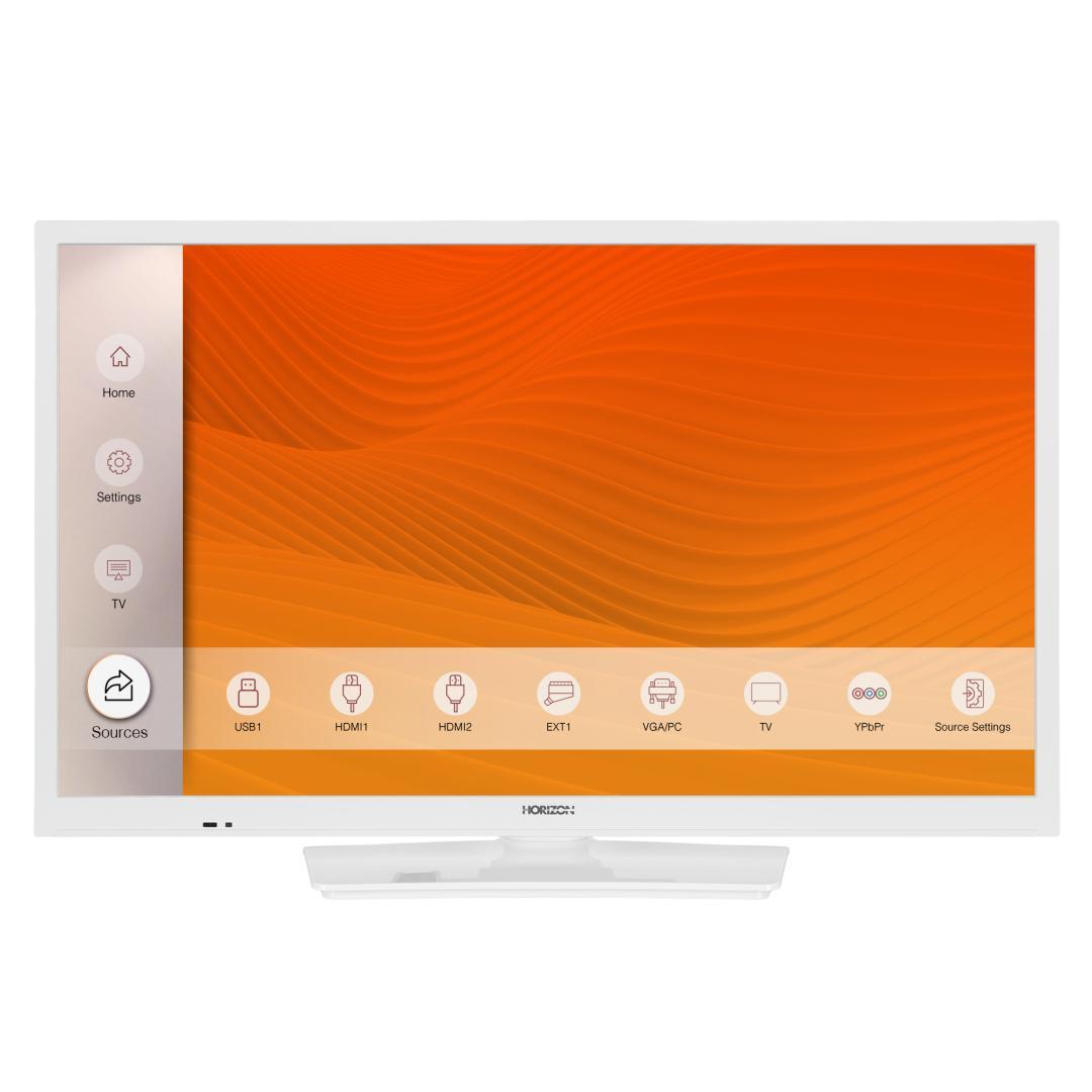 "LED TV HORIZON 24HL6101H/B, 24"" Edge LED, HD Ready (720p), Digital TV- Tuner DVB-S2/T2/C, CME 100Hz, Contrast 3000:1, 220 cd/m2, 1xCI+, 2xHDMI (v1.4), 1xD-Sub (15-PIN), USB Player (AVI, MKV, H.265/HEVC, JPEG), Hotel TV Mode (Passive), VESA 75 x 75 mm|M4, Double Neck-Foot Stand, Very Narrow Design - imaginea 1"