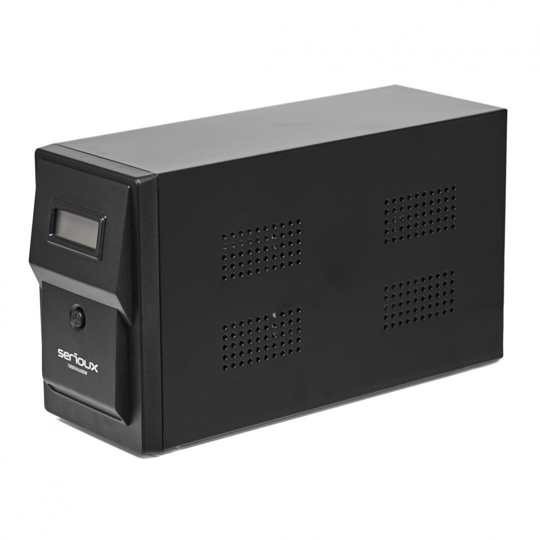 UPS Serioux 1500VA, Line Interactive, 1500VA/900W, 3 porturi Schuko, RJ45+USB, carcasa metalica, functie AVR, repornire automata la revenirea curentului, incarcare in mod oprit, functie cold start, protectii: supratensiune, descarcare completa, scurtcircuit, supraincarcare; baterii: 12V/9AH x 2 - imaginea 3