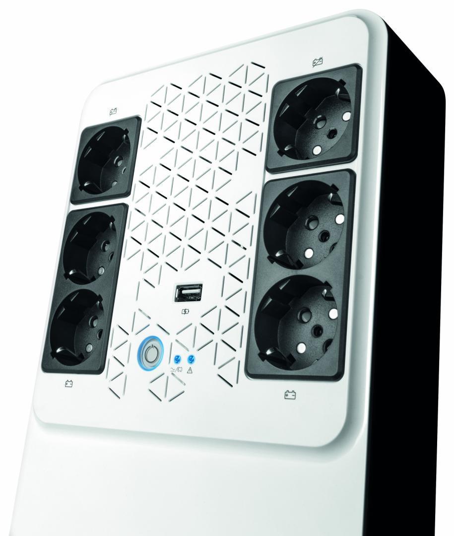 UPS Legrand MULTIPLUG 800, 800VA/480W, 6x German standard sockets, USB charger, baterie 1x 12V 7.2Ah, 230V, tehnologie Line interactiv, dimensiuni 190 x 89.5 x 296mm - imaginea 1