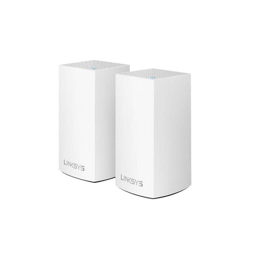 Linksys Velop Intelligent Mesh WiFi System, WHW0102; 2-Pack White (AC2600); Wi-Fi Technology: Dual-Band AC1300 (867 + 400 Mbps)‡ with MU- MIMO and 256 QAM; Network Standards: 802.11b/802.11a/802.11g/802.11n/ 802.11ac/ Wi-Fi Speed: AC1300 (867 + 400 Mbps); Wi-Fi Bands: 2.4Ghz + 5GHz; Wi-Fi Range: up - imaginea 1