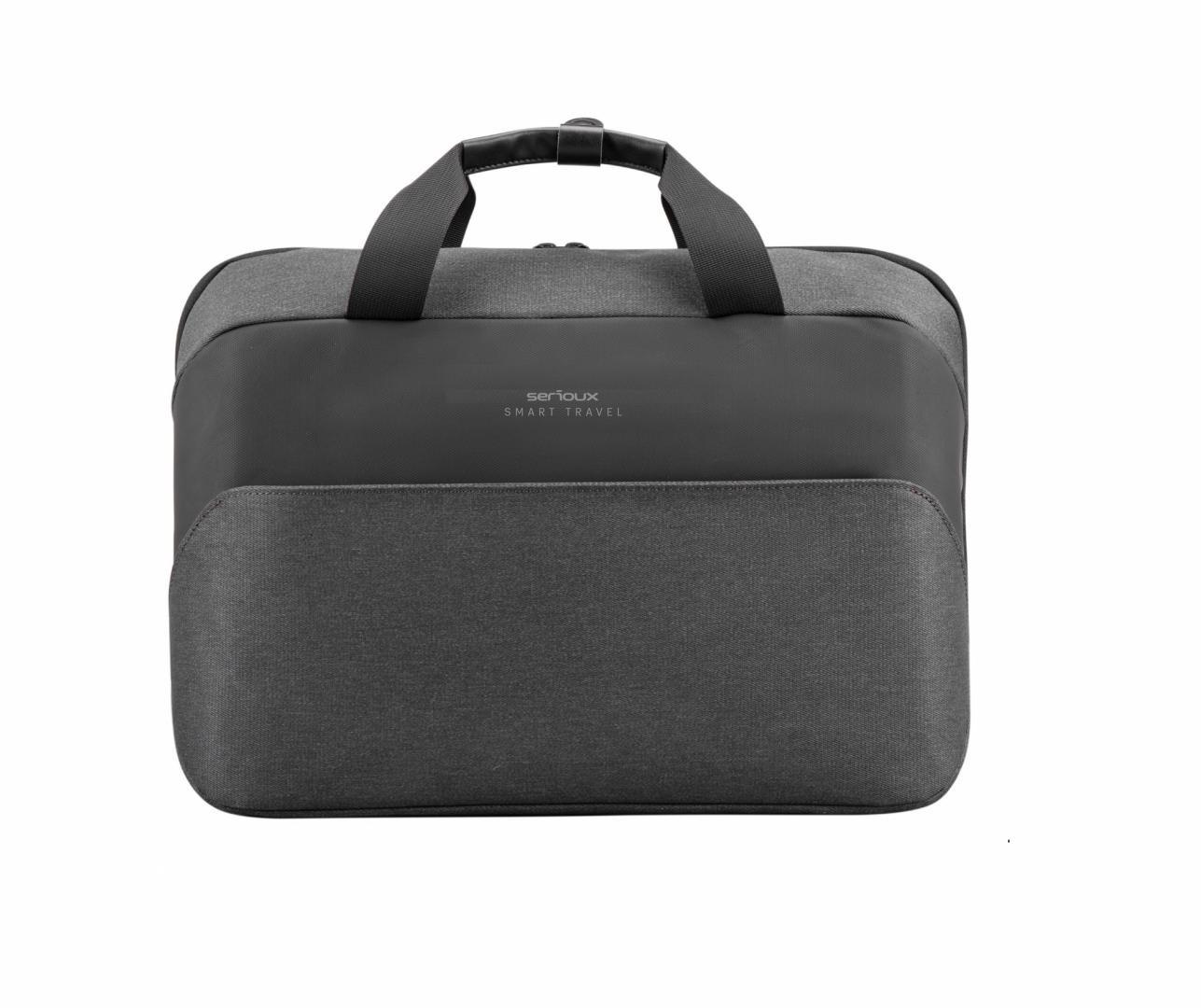 """Geanta notebook Serioux, SMART TRAVEL ST9610, dimensiuni 43 x 11 x 30 cm, rezistent la apa, compartimente multiple, compartimet laptop pana la 15.6"""", bretea spate pentru prindere troller, curea de umar ajustabila, material poliester - imaginea 1"""
