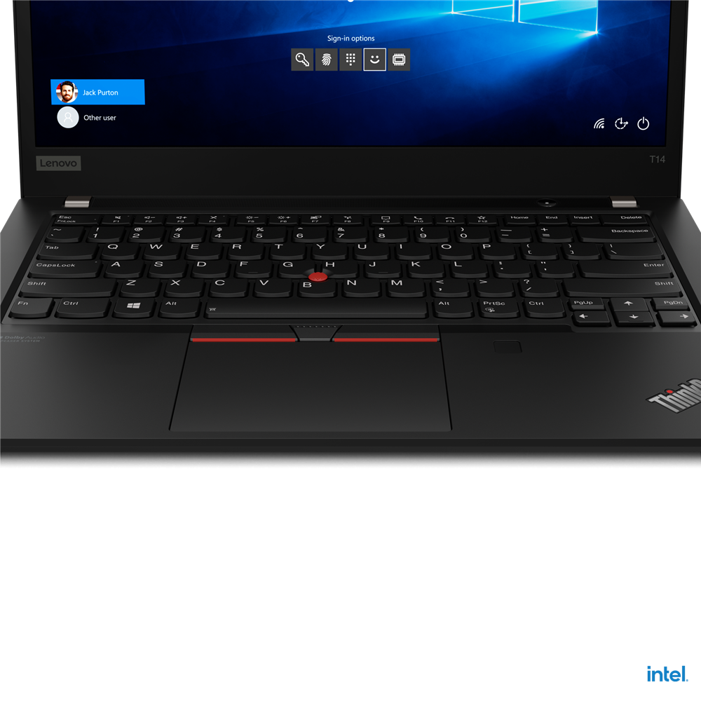 "Laptop Lenovo ThinkPad T14 Gen 2 (Intel), 14"" FHD (1920x1080) Low Power IPS 400nits Anti-glare, Intel Core i7-1165G7 (4C / 8T, 2.8 / 4.7GHz, 12MB), Video NVIDIA GeForce MX450 2GB GDDR6, RAM 16GB Soldered DDR4- 3200, SSD 1TB SSD M.2 2280 PCIe x4 NVMe Opal2, Optical: no ODD, MicroSD Reader, Speakers - imaginea 14"