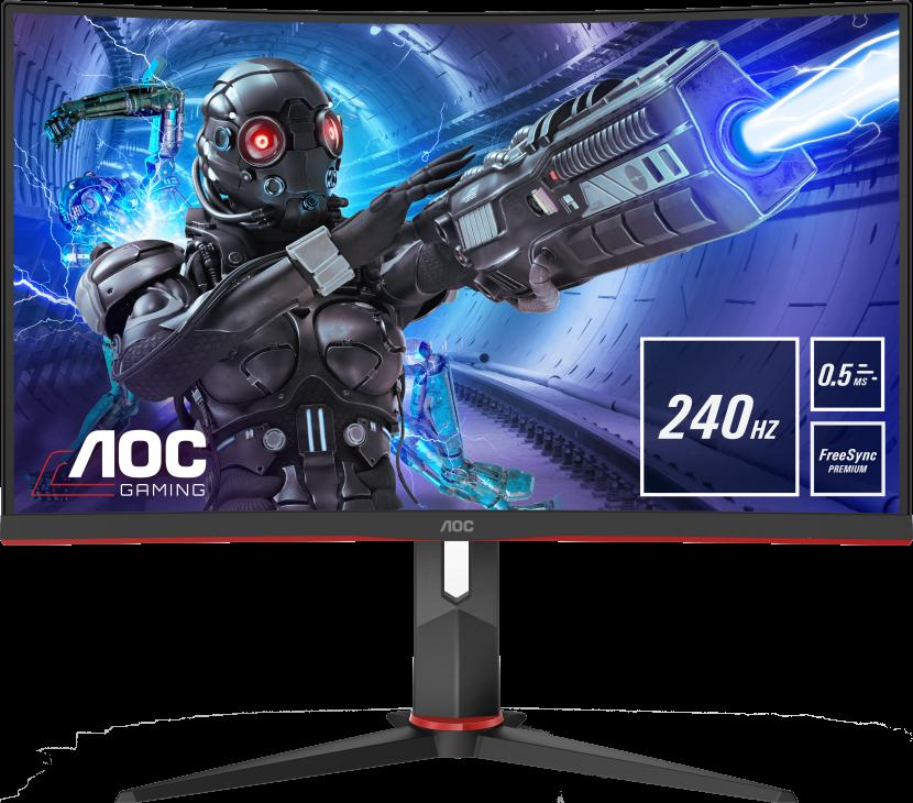 """Monitor 27"""" AOC C27G2ZU/BK, FHD 1920*1080, 240 Hz, 0.5 ms, VA, Curbat 1500R, WLED, 16:9, 300 cd/mp, 3000:1, 178/178, flicker free, 2*HDMI, DP, 4* USB, headphone out, boxe 2*2W, cabluri HDMI/ DP incluse, VESA 100x100, culoare negru+ rosu - imaginea 3"""