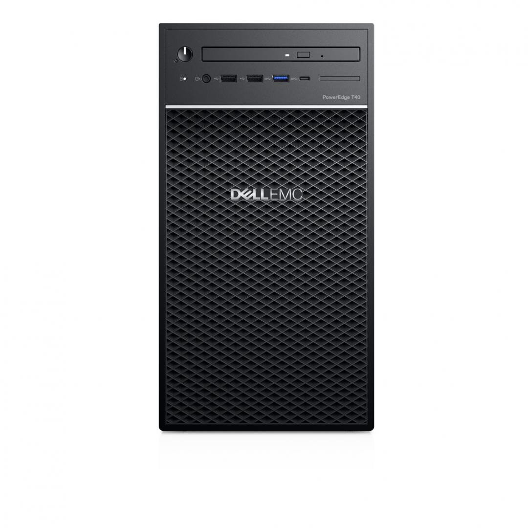 """PowerEdge Tower T40; Intel Xeon E-2224G 3.5GHz, 8M cache, 4C/4T, turbo (71W); 3.5"""" Chassis with up to 3 Hard Drives; ODD bezel, PowerEdge T40; 8GB 2666MT/s DDR4 ECC UDIMM; 1TB 7.2K RPM SATA 6Gbps Entry 3.5in Cabled Hard Drive; 8x DVD+/-RW 9.5mm Optical Disk Drive; No RAID with Embedded SATA; No - imaginea 1"""