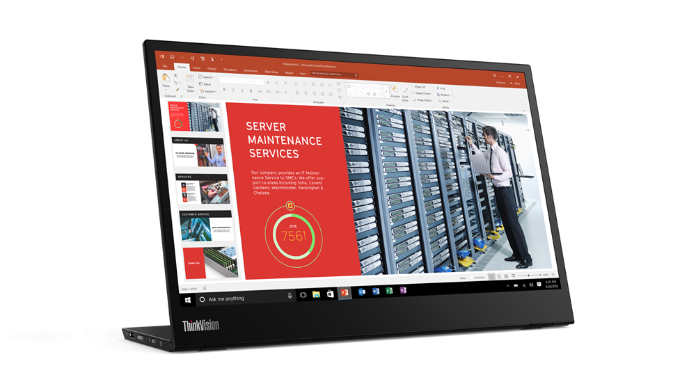 """Monitor Lenovo ThinkVision M1414"""" IPS, FHD (1920x1080), 16:9 ,Luminozitate: 300 nits, Contrast ratio: 700.:1, Response time: 6 ms, Dot/ Pixel Per Inch: 157 dpi, Color Gamut: 72% NTSC, View angle: 178 / 178,Stand: Tilt, Height Adjust Stand, Side Bezel Width: 5.48 mm, Dimensiune(cu stand) - imaginea 2"""