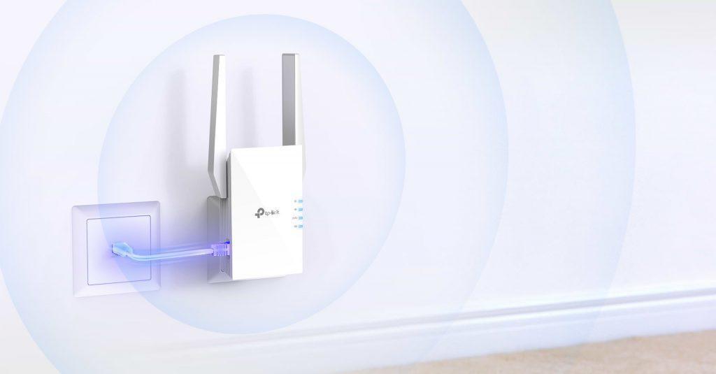 TP-link AX1500 Wi-Fi Range Extender, RE505X, 2* external antenna, IEEE 802.11a/n/ac/ax 5GHz, IEEE 802.11b/g/n 2.4GHz, 1* Gigabit Ethernet Port (RJ45), WPS Button, Reset Button, 2.4GHz 300Mbps, 5GHz 1200Mbps 64/128-bit WEP, WPA/WPA-PSK2. - imaginea 1