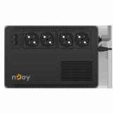UPS nJoy Soter 600, 600VA/ 360W, 4 Prize Schuko cu protectie, functie auto-restart, Stabilizator de tensiune (AVR), Plaja acceptata tensiune intrare: 170-280 VAC, Timp de transfer: 2-6 ms, Frecventa: 60/50 Hz (auto sensing), Protectie RJ45/RJ11: 1 intrare / 1 iesire, Dimensiuni fizice: 245 x 163 x - imaginea 1