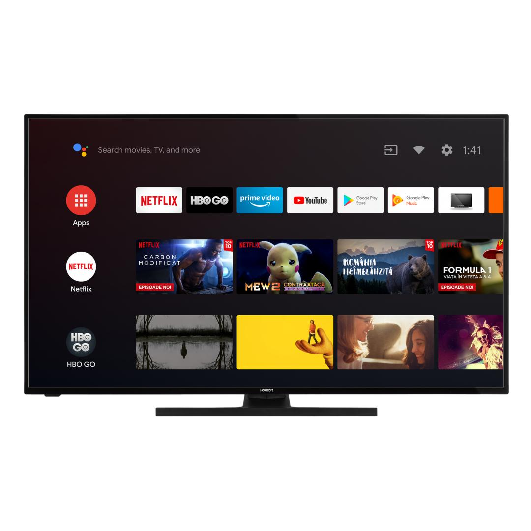"LED TV HORIZON 4K-ANDROID 43HL7590U/B, 43"" D-LED, 4K Ultra HD (2160p), DolbyVision HDR / HLG + MicroDimming, Digital TV-Tuner DVB-S2/T2/C, CME 400Hz, Android TV 9.0 (Chromecast built-in) +GoogleAssistant +BT4.0, 1xLAN (RJ45), DLNA 1.5, Contrast 5000:1, 350 cd/m2, 1xCI+, 4xHDMI, 2xUSB, Dolby Audio - imaginea 1"