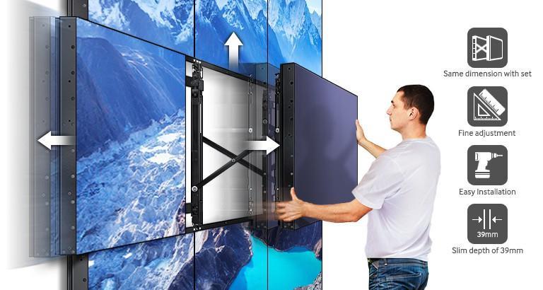 "Ecran Videowall LFD Monitor Samsung UD55E, 55"" (140cm), FHD, Bezel 3.5mm (2.3+1.2), Luminozitate 500nit, Timp Raspuns 8ms, Contrast 4000:1, Haze 44%, [...]; Conectivitate: INPUT: 1xD-SUB, 1xDVI, 1xDP1.2, 2xHDMI, HDCP2.2, 1xUSB pt F/W Upgrade, 1xLAN, 1xRS232C, 1xIR, Audio In Stereo Mini Jack; OUTPUT - imaginea 2"