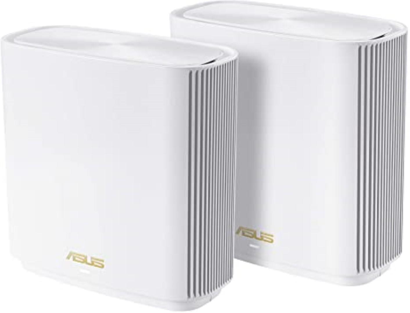 Asus Tri band large home Mesh ZENwifi system, XT8 2 pack; 1.5 GHz quad- core processor, 256 MB Flash, 512 MB RAM ; Network Standard: IEEE: IEEE 802.11a, IEEE 802.11b, IEEE 802.11g, IEEE 802.11n, IEEE 802.11ac, IEEE 802.11ax, IPv4, IPv6; Antenna: 6x internal antennas; Transmit/Receive: 2.4 GHz 2 x 2 - imaginea 1