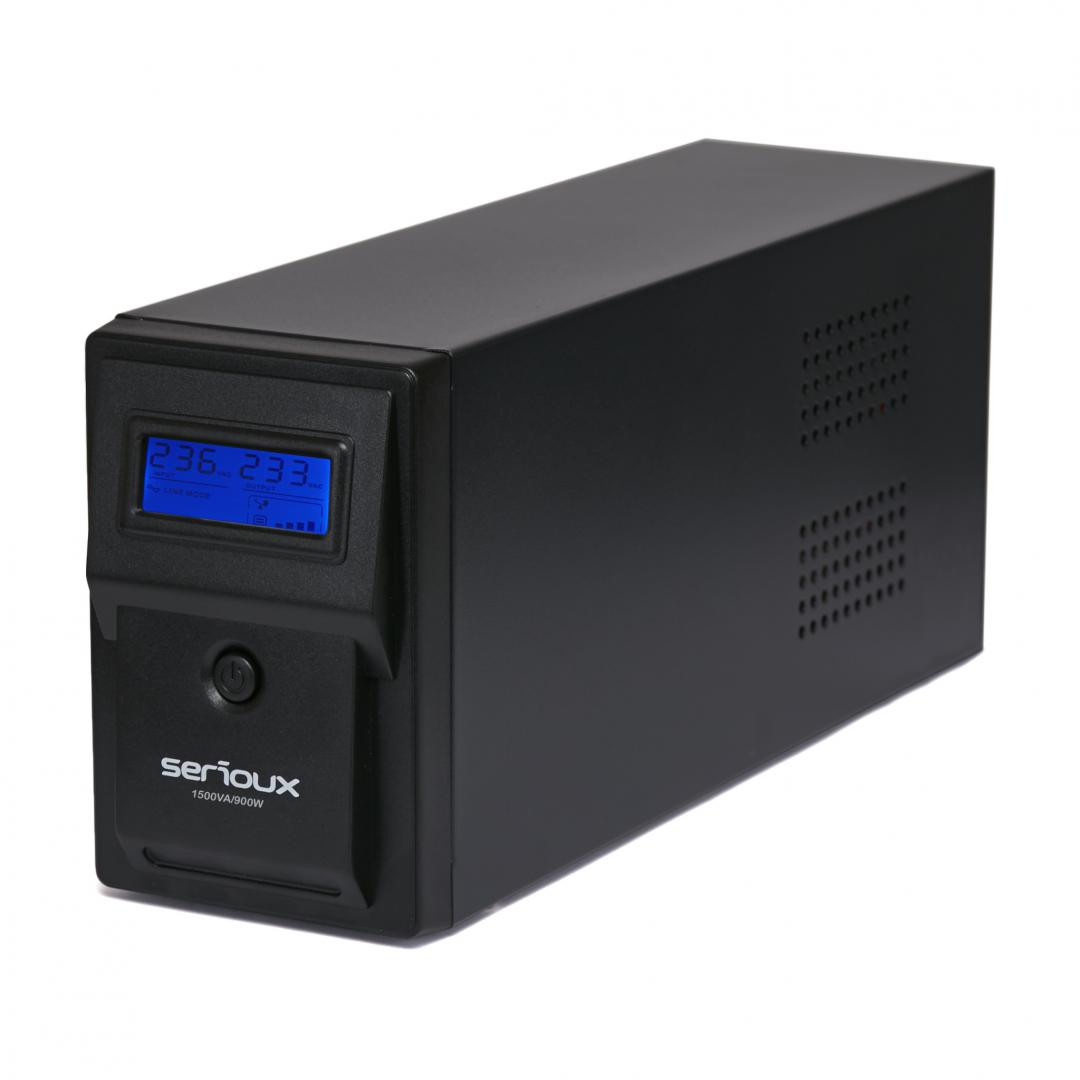 UPS Serioux 1500VA, Line Interactive, 1500VA/900W, 3 porturi Schuko, RJ45+USB, carcasa metalica, functie AVR, repornire automata la revenirea curentului, incarcare in mod oprit, functie cold start, protectii: supratensiune, descarcare completa, scurtcircuit, supraincarcare; baterii: 12V/9AH x 2 - imaginea 1