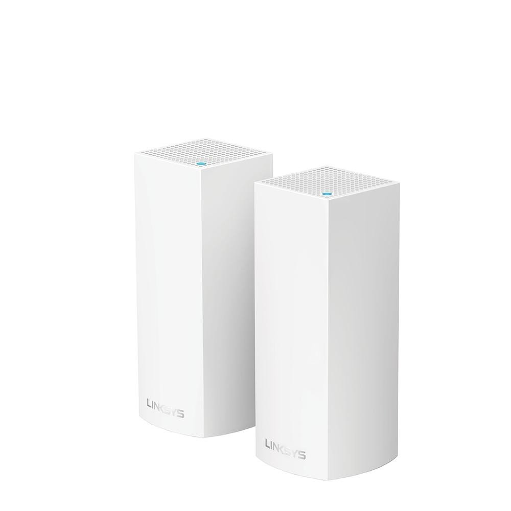 Linksys VELOP Whole Home Mesh Wi-Fi System (Pack of 2), WHW0302-EU, Tri- Band AC2200, Simultaneous Tri-Band (2.4Ghz + 5GHz + 5GHz), 2x WAN/LAN auto-sensing Gigabit Ethernet ports, 6x internal antennas and high powered amplifiers - imaginea 1