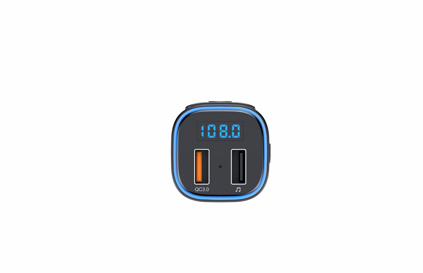 Modulator FM Serioux ABFM46, Bluetooth 5.0 , raza actiune de până la 5 m, voltaj intrare: 1x DC 12V/24V, 2 porturi USB: 1 X USB QC3.0 1 x USB audio (pana la 32 GB), format muzica: MP3/WMA/WAV, frecvența FM: 87.5MHz - 108.0MHZ , microfon incorporat, functii:răspunde/respinge/handsfree/reapelare - imaginea 3