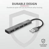 Adaptor Trust Halyx Aluminium 4-Port Mini USB Hub - imaginea 4