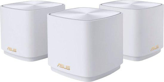 Asus dual-band large home Mesh ZENwifi system, XD4 3 pack; white , 256 MB Flash, 256 MB RAM ; Network Standard IEEE 802.11a, IEEE 802.11b, IEEE 802.11g, IEEE 802.11n, IEEE 802.11ac, IEEE 802.11ax, IPv4, IPv6, Internal dual-band antenna x 2, MIMO technology 2.4 GHz 2 x 2, 5 GHz 2 x 2, RJ45 for 1000 - imaginea 1