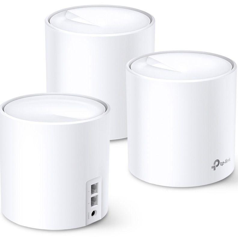 TP-Link AX3000 whole home mesh Wi-Fi 6 System, Deco X60(3-pack);  Standarde Wireless: IEEE 802.11 ax/ac/n/a 5 GHz, IEEE 802.11 ax/n/g/b 2.4 GHz, 2 LAN/WAN Gigabit Ethernet Ports, Qualcomm 1 GHz Quad-core CPU, 4 internal antennas per Deco unit, 2402 Mbps (5 GHz), 574 Mbps (2.4 GHz). - imaginea 1