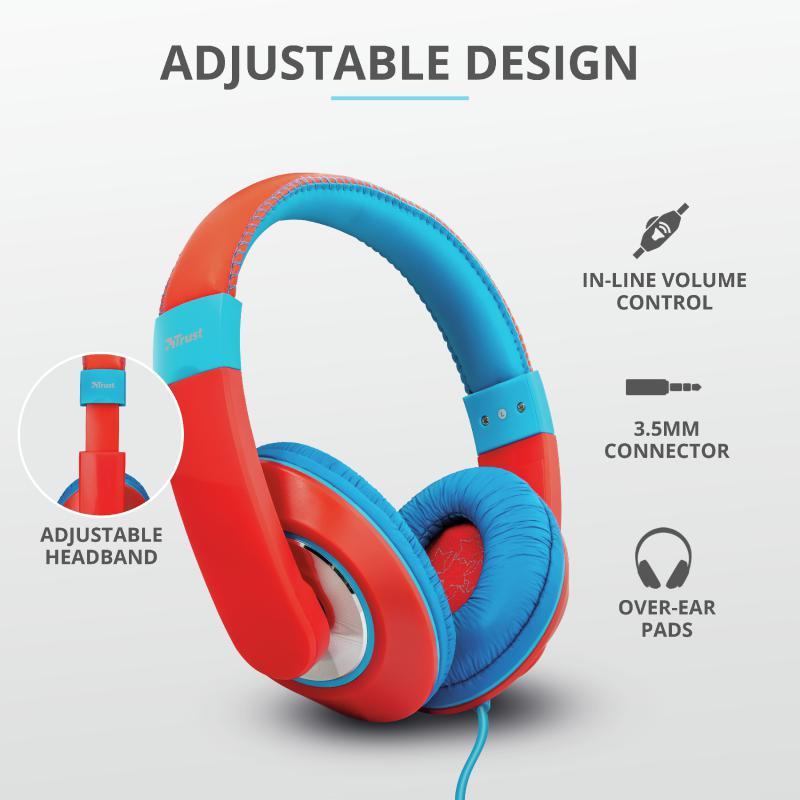 Casti cu microfon Trust Sonin Kids Headphones - red - imaginea 4