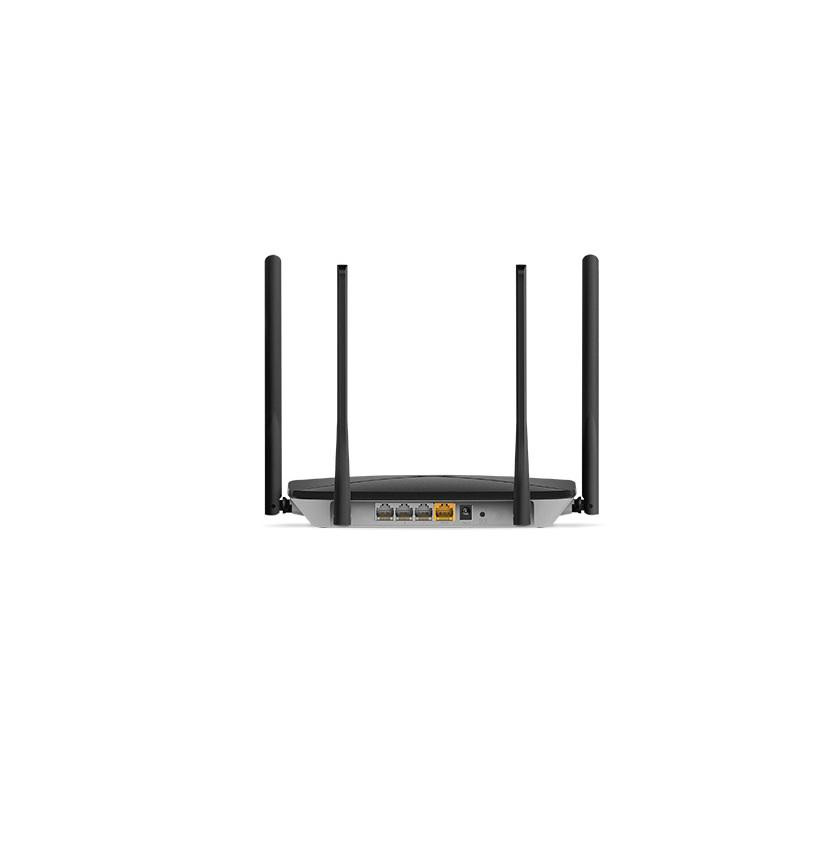 AC1200 Wireless Dual Band Gigabit Router Mercusys, AC12G; Wireless Standards: IEEE 802.11a/n/ac 5 GHz, IEEE 802.11b/g/n 2.4 GHz; Frequency: 2.4 - 2.5GHz, 5.15 - 5.85GHz; 4x Fixed Omni-Directional Antennas; Signal Rate: 300 Mbps at 2.4GHz, 867 Mbps at 5GHz; 1x Gigabit WAN Port, 3x Gigabit LAN Ports - imaginea 2