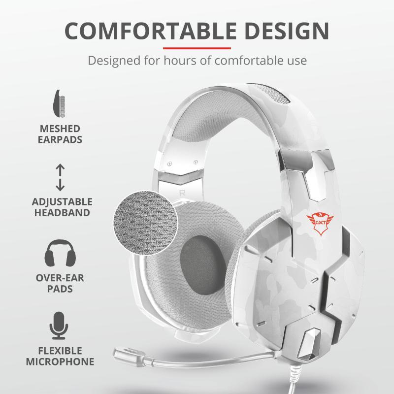 Casti cu microfon Trust GXT 322W Carus Gaming Headset, snow camo - imaginea 8
