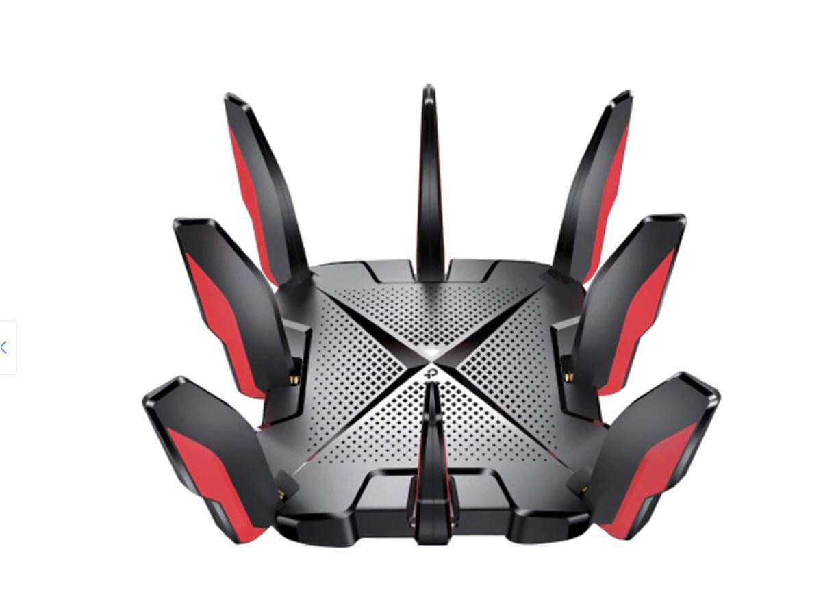 Router gaming Wi-Fi 6 Tri-Band Gigabit AX6600 cu Tehnologie OneMesh, Standarde wireless: IEEE 802.11ax/ac/n/a 5 GHz, IEEE 802.11ax/n/b/g 2.4 GHz, viteze wifi: 5 GHz: 4804 Mbps (802.11ax, HE160), 5 GHz: 1201 Mbps (802.11ax), 2.4 GHz: 574 Mbps (802.11ax), 8 × Antene Fixe, Tri-Band, 4 × 4 MU-MIMO - imaginea 1