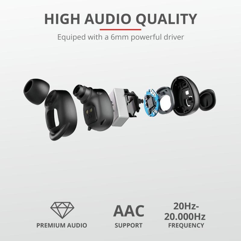 Casti Trust Duet XP Bluetooth Earphones, negru - imaginea 6