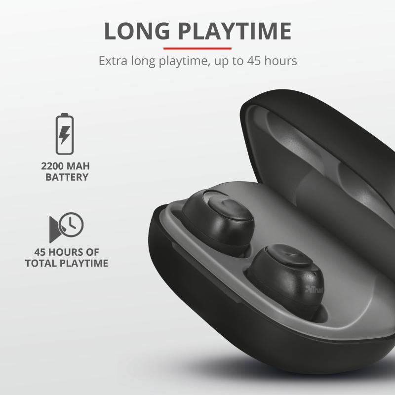 Casti Trust Duet XP Bluetooth Earphones, negru - imaginea 5