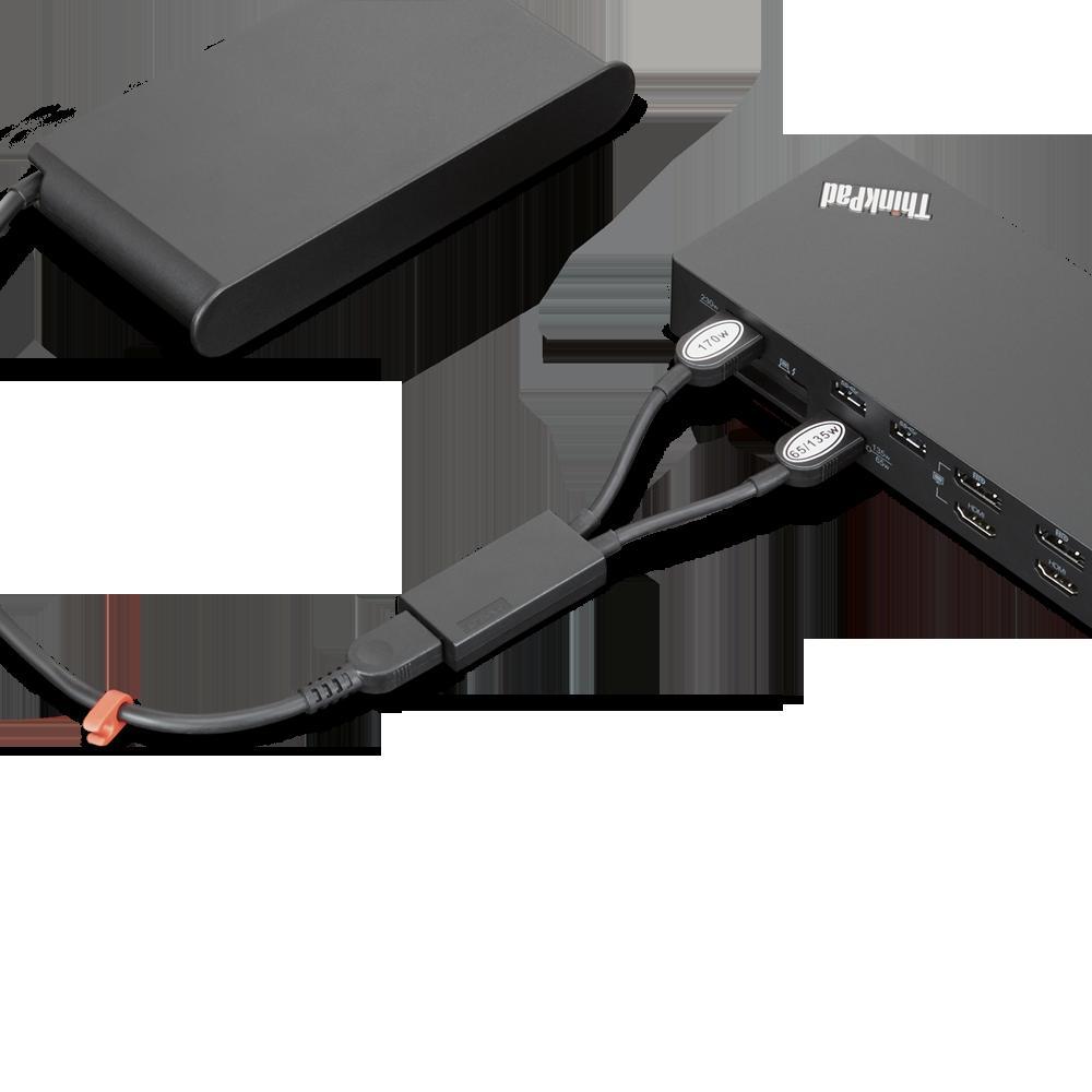 Docking Station Lenovo ThinkPad Thunderbolt 3 Workstation Dock Gen 2, Porturi: 2 x DisplayPort, 2 x HDMI, 1 x Thunderbolt 3 DownStream Port (video/data), 5 x USB 3.1 gen 2, 1 x Gigabit Ethernet, 1 x Kensington Lock Slot, 1 x 3.5 mm Stereo/Microphone Combo Port, 3 x max external monitorsMaximum - imaginea 8