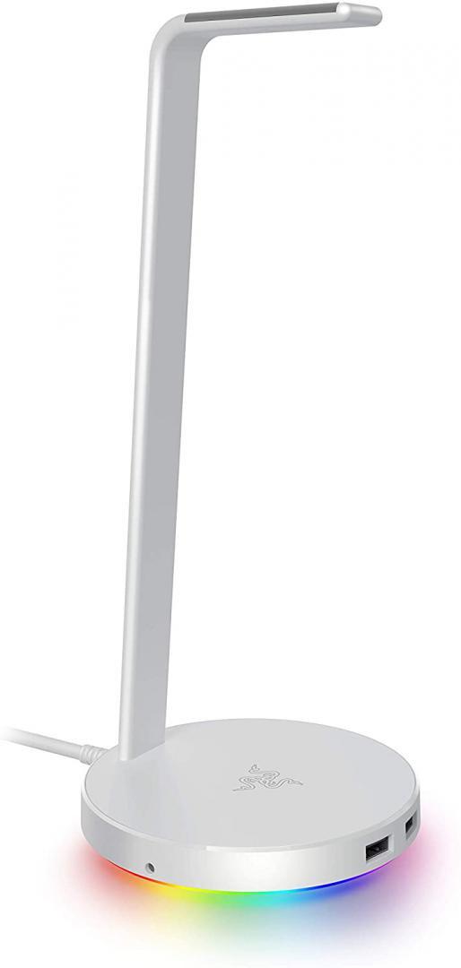 Razer Base Station V2 Chroma - Chroma Enabled Headset Stand with USB 3.1 Hub and 7.1 Surround Sound - Mercury (White) - imaginea 1