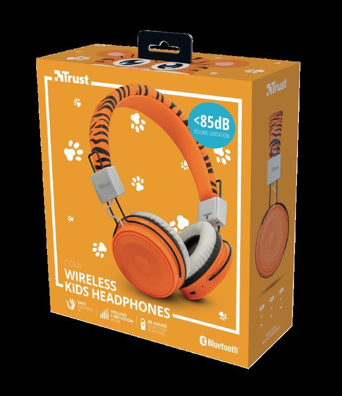 Casti cu microfon Trust Comi Bluetooth Wireless Kids Headphones Orange - imaginea 12