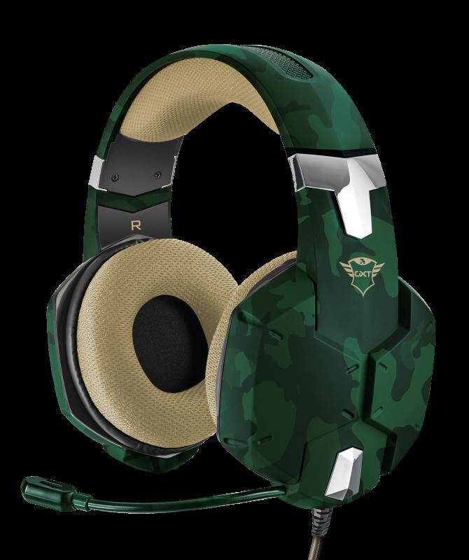 Casti cu microfon Trust GXT 322C Carus Gaming Headset, jungle camo - imaginea 2