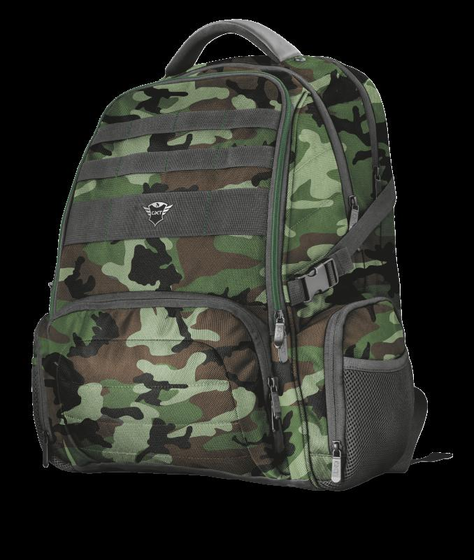 """Rucsac Trust GXT 1250G Hunter Gaming Backpack for 17.3"""" laptops - green camo - imaginea 1"""