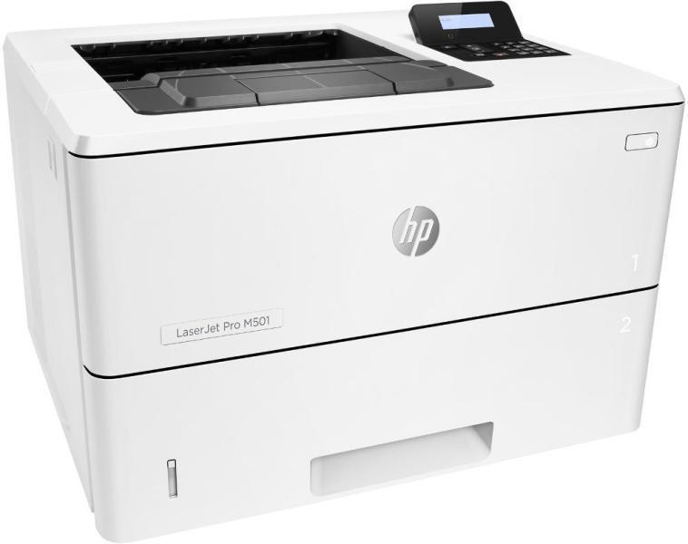 Imprimanta laser Mono HP Laserjet Pro M501dn; A4, max 43ppm (34ipm Duplex), 600x600dpi (4800x600 enhanced dpi Black), 256MB RAM, procesor 1.5GHz, fpo 5.8 sec (ready), HP PCL 5, HP PCL 6, HP Postscript Level 3 emulation, direct PDF (v1.7) printing, URF, PCLM, PWG, tavi 100+550 coli, Duplex, display - imaginea 1