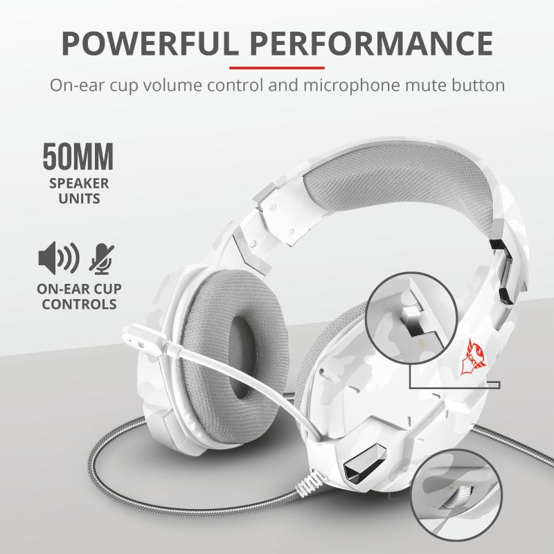 Casti cu microfon Trust GXT 322W Carus Gaming Headset, snow camo - imaginea 7