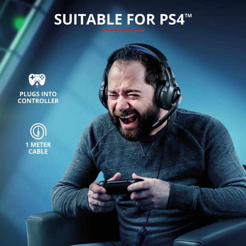 Casti cu microfon Trust GXT 307B Ravu Gaming PS4, negru - imaginea 8