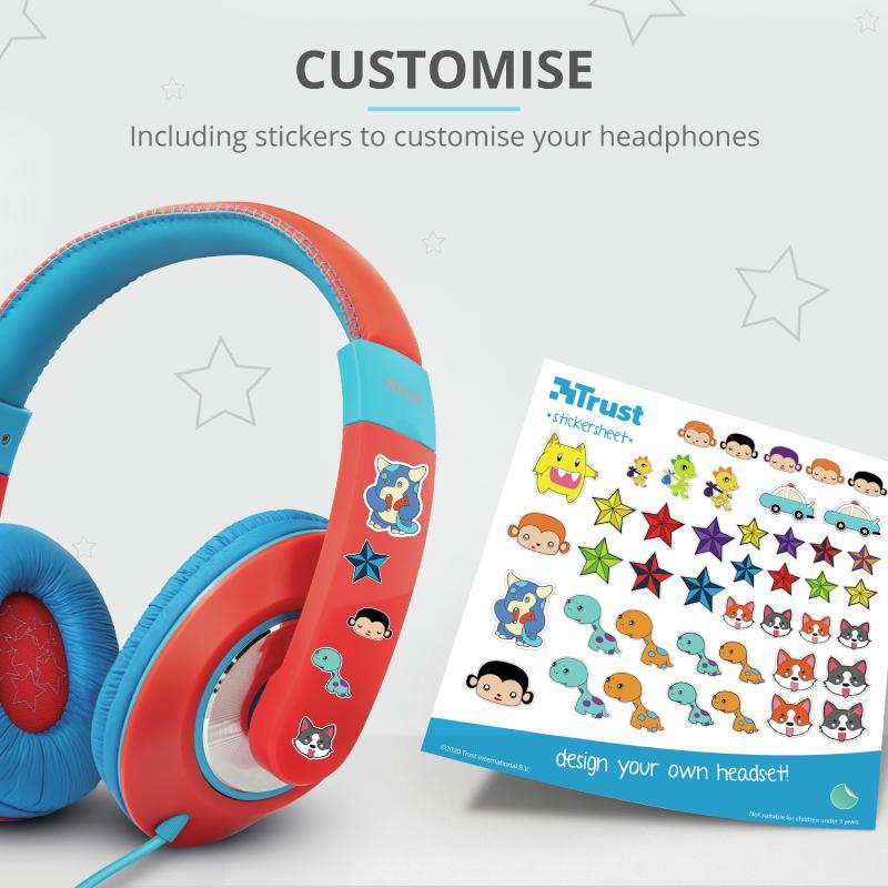 Casti cu microfon Trust Sonin Kids Headphones - red - imaginea 5