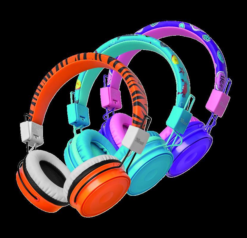 Casti cu microfon Trust Comi Bluetooth Wireless Kids Headphones Orange - imaginea 11