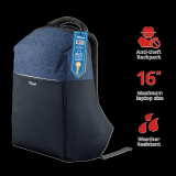 "Rucsac Trust Nox Anti-theft Backpack 16"" Blue - imaginea 2"