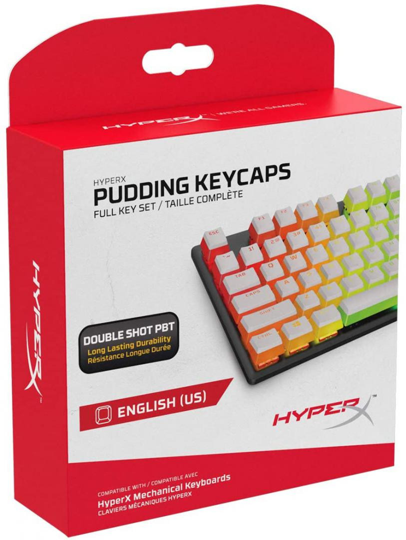 Gaming Keycaps Full set, HyperX Pudding, US Layout, White PBT - imaginea 1