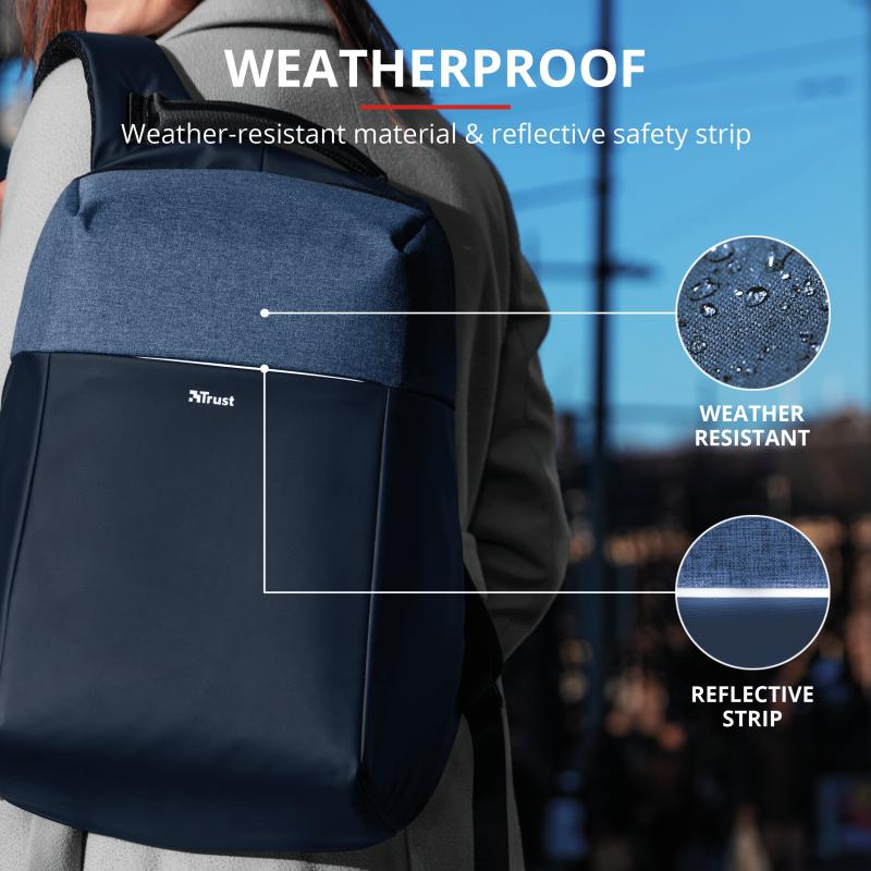 "Rucsac Trust Nox Anti-theft Backpack 16"" Blue - imaginea 10"