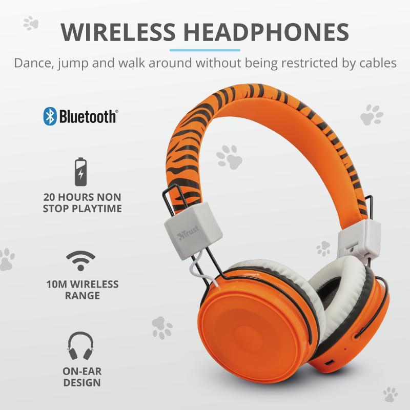 Casti cu microfon Trust Comi Bluetooth Wireless Kids Headphones Orange - imaginea 8