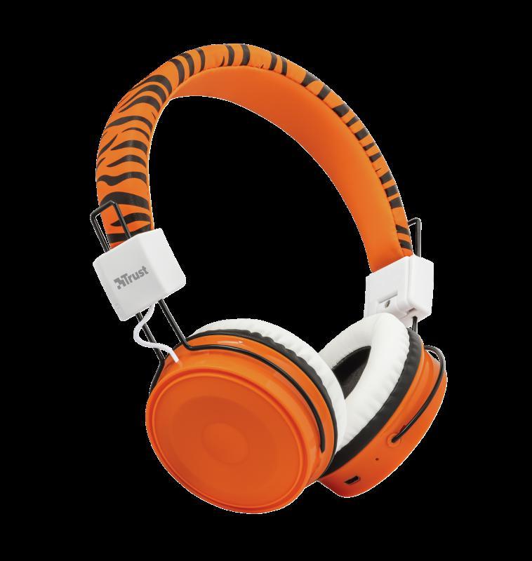 Casti cu microfon Trust Comi Bluetooth Wireless Kids Headphones Orange - imaginea 1