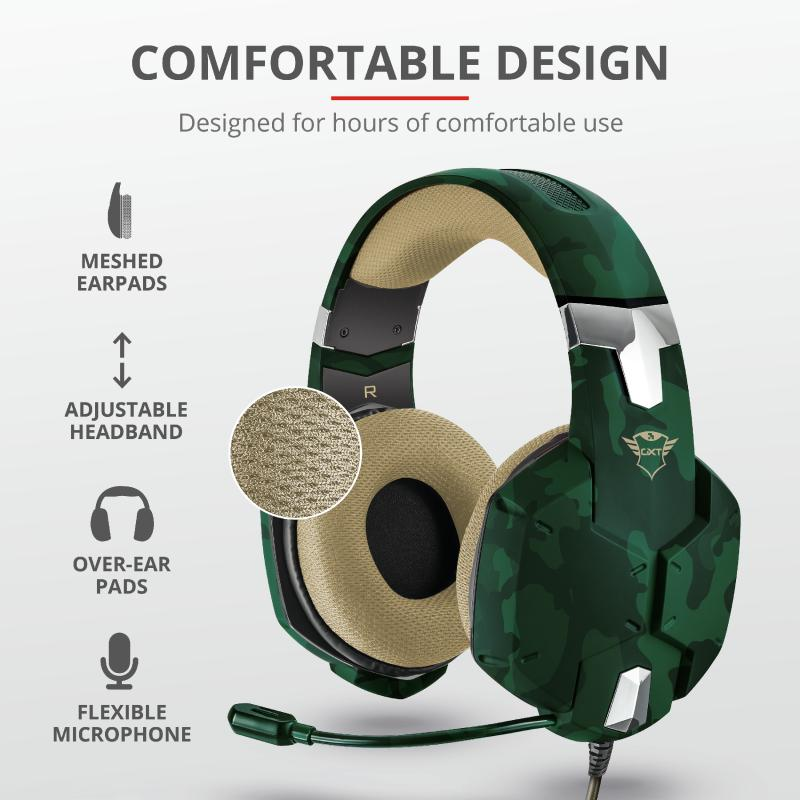 Casti cu microfon Trust GXT 322C Carus Gaming Headset, jungle camo - imaginea 9