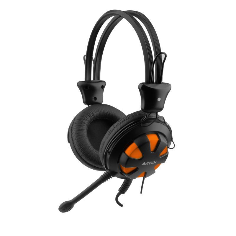 Casti cu microfon A4tech HS-28-3, Portocaliu/Negru - imaginea 1