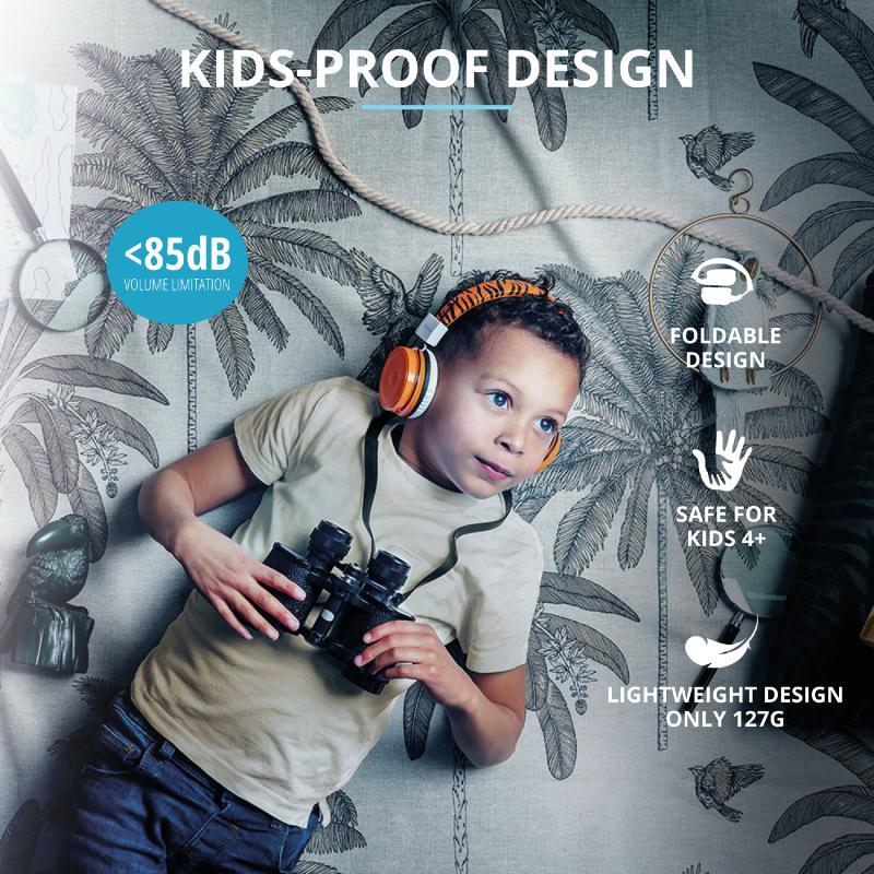 Casti cu microfon Trust Comi Bluetooth Wireless Kids Headphones Orange - imaginea 10